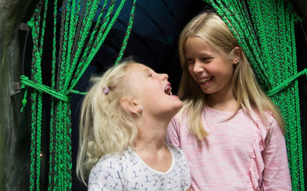 Två vita, blonda flickor i dagisåldern syns på bilden i porträttfototyp. Båda flickor har ljusa kläder på sig och skrattar och ser glada ut. Flickan närmast kameran, mer till vänster om bilden, ser yngre ut och har munnen vidöppen i ett skratt. Bakom dem finns en svart bakgrund och en gardin i gröna, tvinnade snören syns längs hela vänsterkanten samt i det övre högra hörnet.