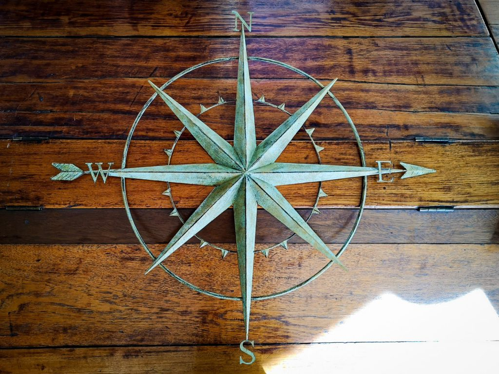 """På en mörk bakgrund av trä syns en dekorationskompass av mässingslik metall med bokstäverna """"N, E, S och W"""" som utmärker de fyra primära väderstrecken och lika långa armar på en åttauddig stjärna pekar mot samtliga väderstreck. Genom """"W"""" genom kompassen och slutligen """"E"""" löper en pil."""